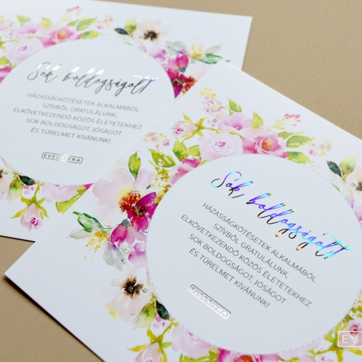 Floral greeting cards with decorative foiling for newlyweds