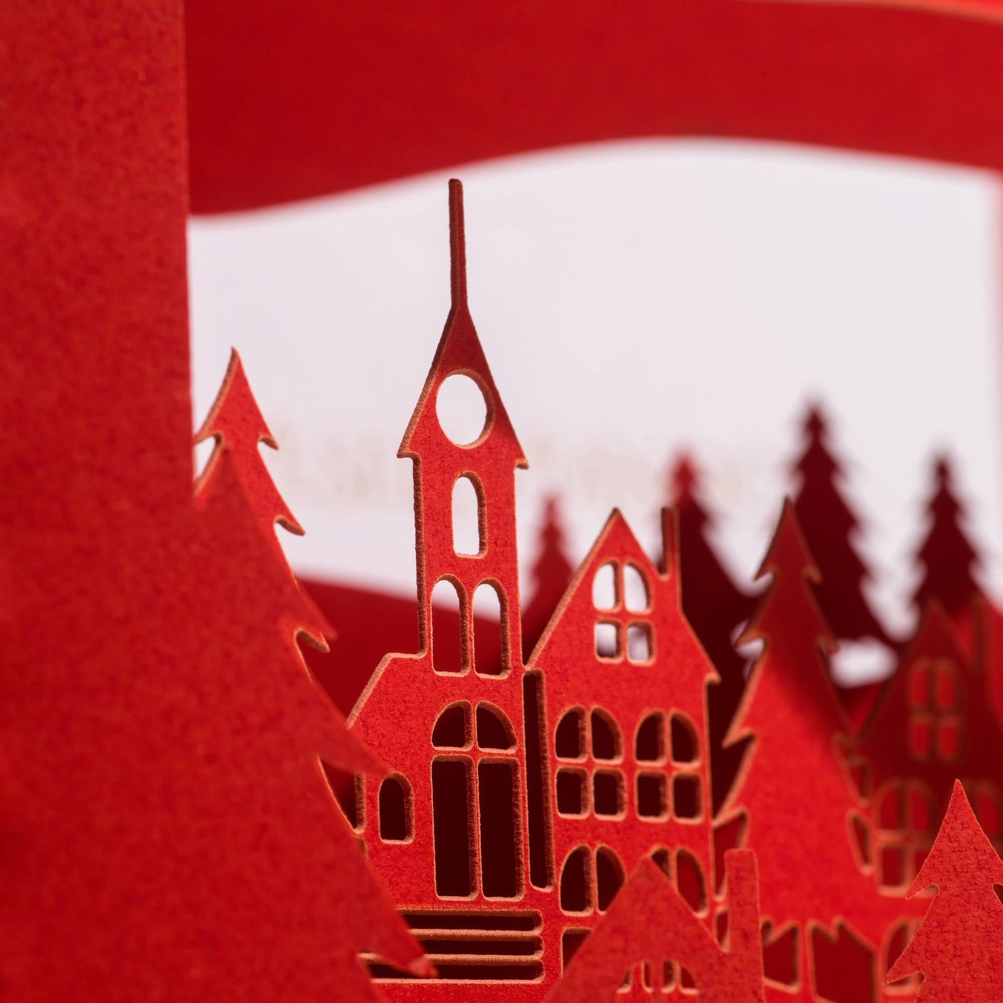 Laser-cut Christmas Village 3D greeting card