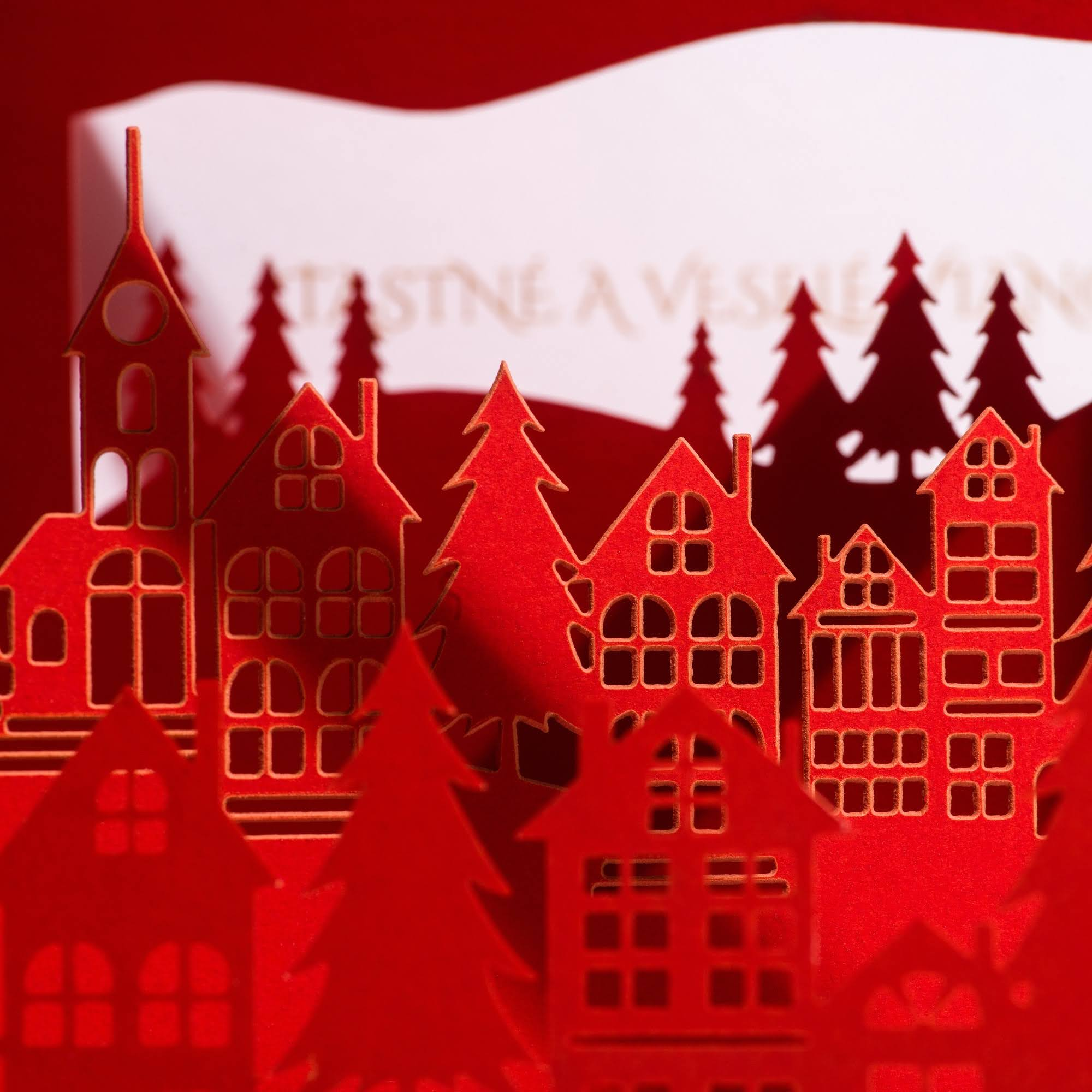 Laser-cut Christmas Village 3D greeting card
