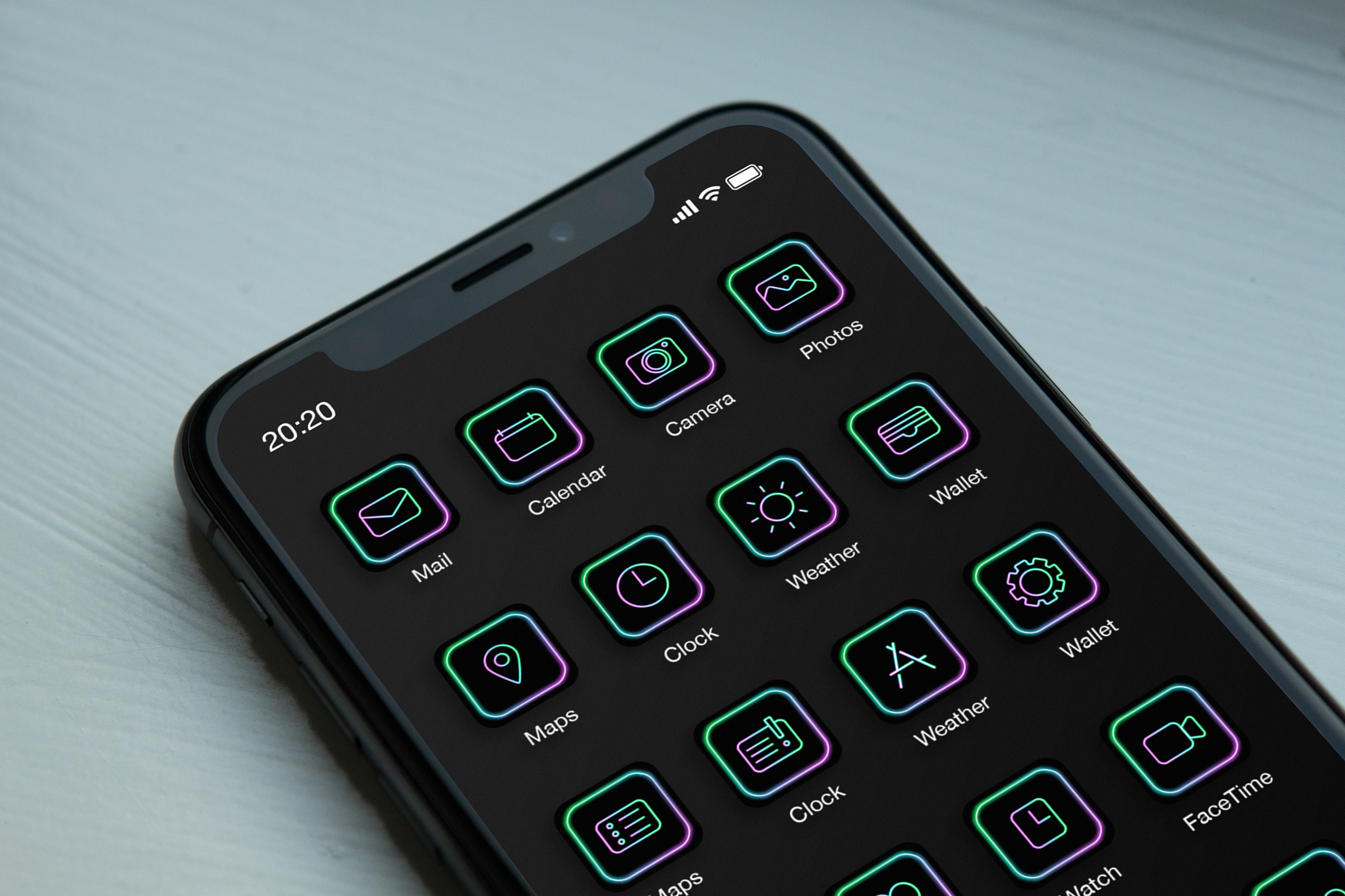 NEON GEEK icon set for iOs 14 by evaczifra